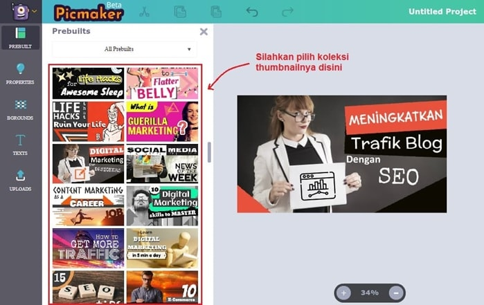 Edit Thumbnail youtube di picmaker
